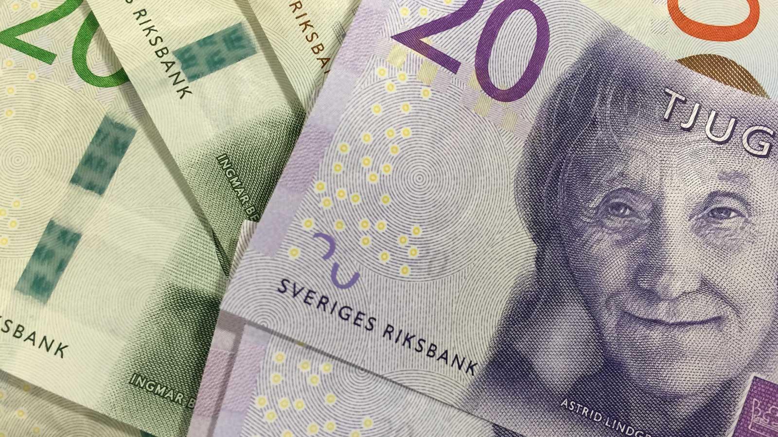 Pengar med Astrid Lindgren på. Foto: Lisbeth Svensson