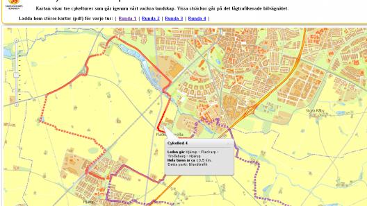 Karta över kommunens cykelparadis