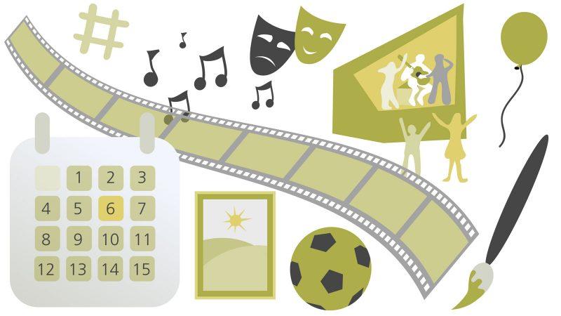 Evenemangskalender. Illustration: Alva Esping