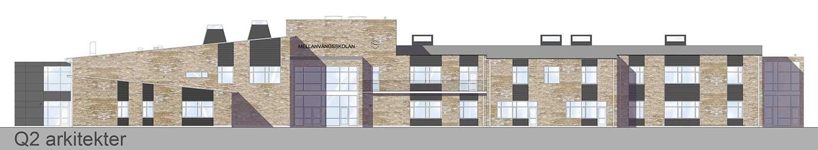 Bild & Licens: Q2 Arkitekter Mellanvångsskolan Fasad mot norr
