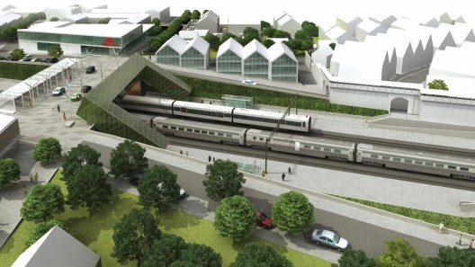 Stationsområdet i Hjärup_Illustration Metro Arkitekter