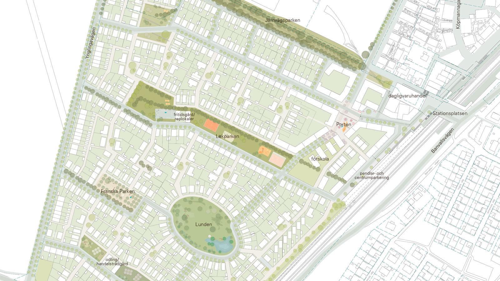Planförslag nya stadsdelen Västerstad_Bild: GEHL Architects
