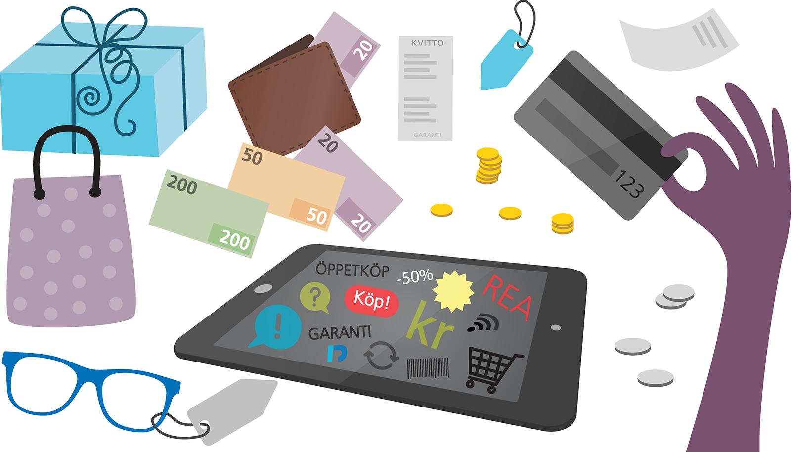 Konsumentvägledning, illustration: Alva Esping