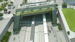 Hjärups station från ovan. Illustation: Sweco/Trafikverket