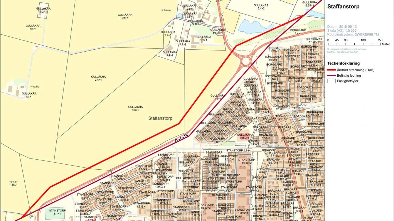 karta över kraftledningens nya sträckning vid Staffanstorps tätort