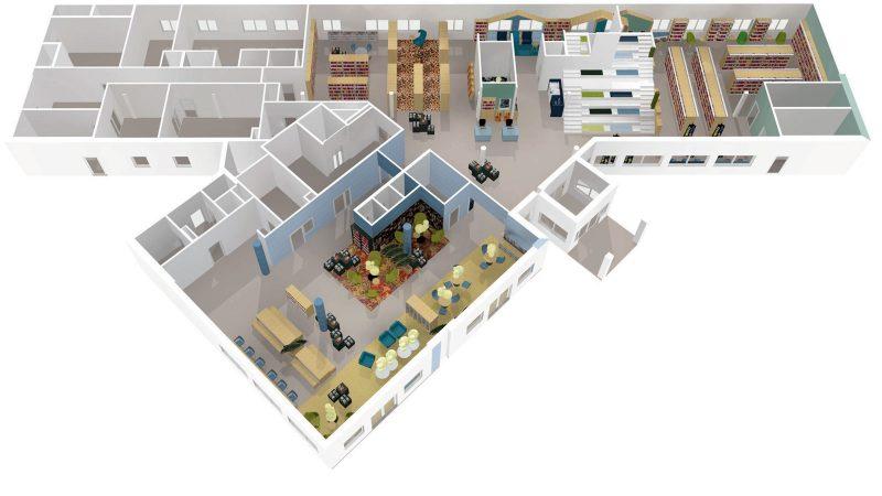 Kulturlyftet, skiss föreställande första våningen i rådhuset. Illustrationer: Lammhults Biblioteksdesign A/S, Camilla Larsen