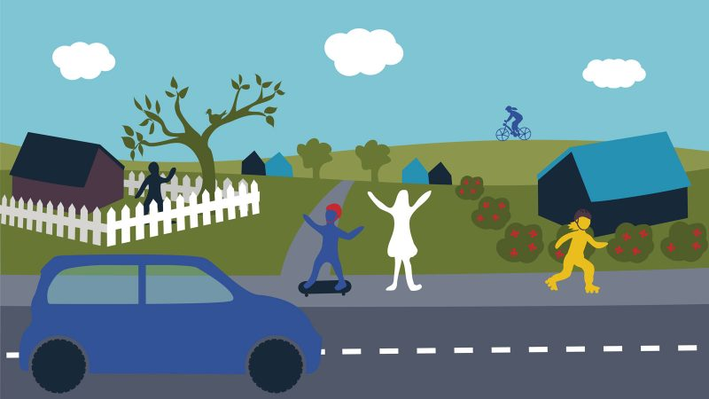 Trafiksäkerhet trädgård. Illustration: Alva Esping