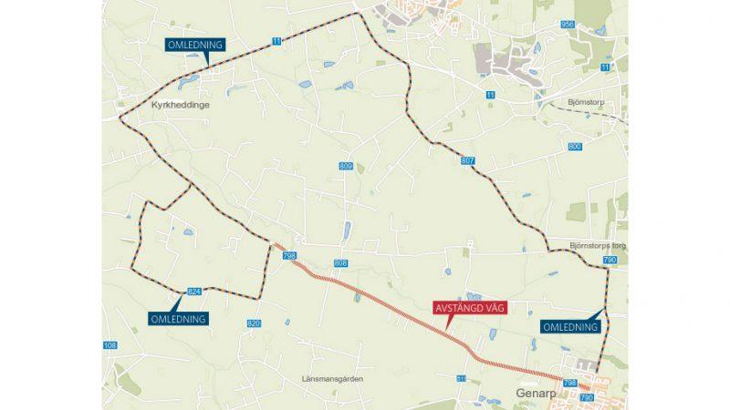 Omledning. Karta: Trafikverket