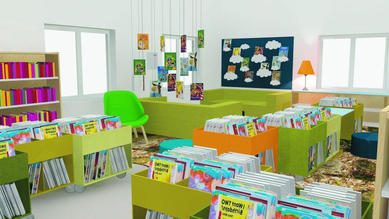 Inspirationsskiss för barnavdelningen. Illustration: Lammhults Biblioteksdesign A/S