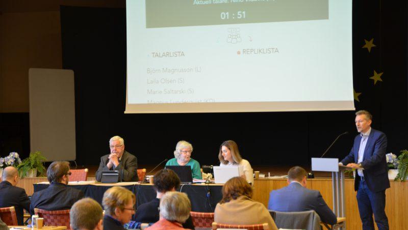 Bild från kommunfullmäktiges sammanträde 30 oktober 2017. Foto: Staffanstorps kommun