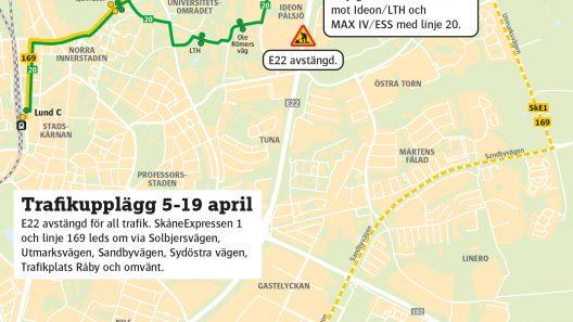 E22 avstängd för all trafik 5-19 april. Karta: Skånetrafiken