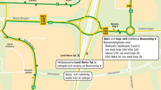 E22 trafikupplägg 19 mars till 21 maj. Karta: Skånetrafiken