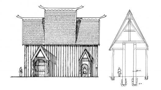 Kulthuset i Uppåkra. Illustration Loic Lecareux