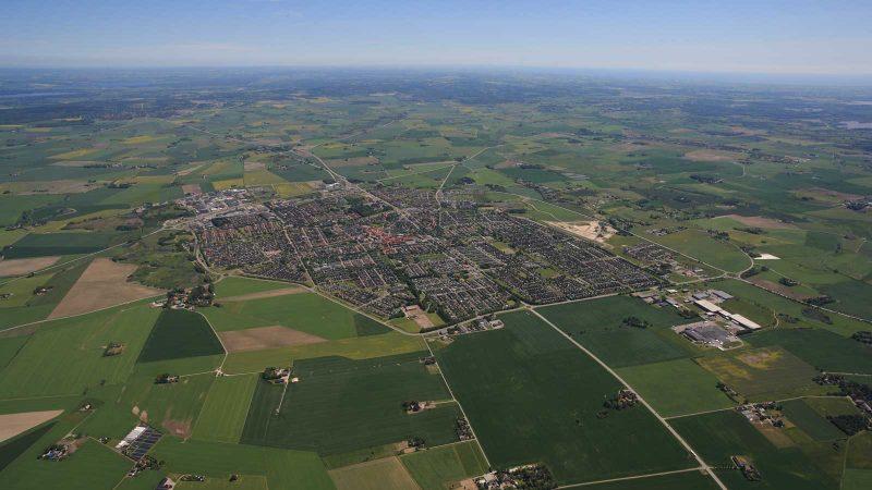 Flygbild över Staffanstorp. Foto och licens: Perry Nordeng