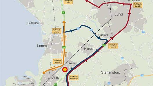 Total avstängning E6. Karta: Trafikverket