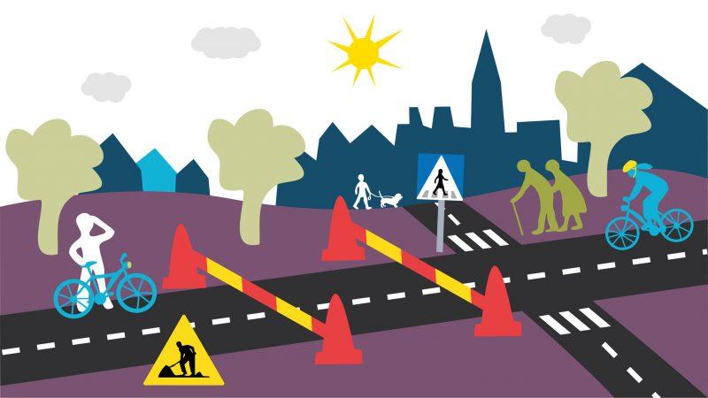 Avspärrning gång- och cykelvägar Illustration: Alva Esping