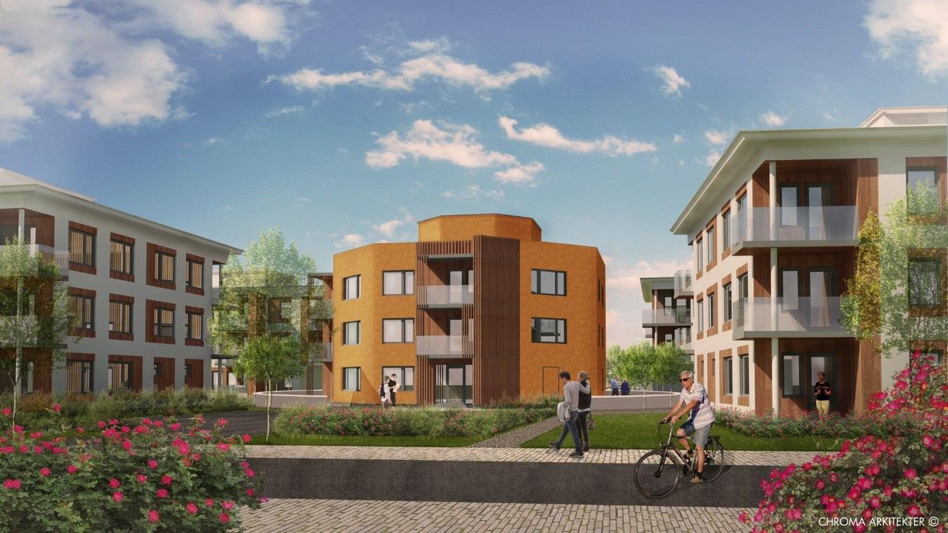 Fem nya bostadshus ska byggas vid Roos park: Chroma arkitekter AB