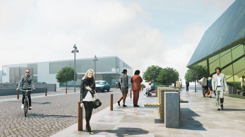 Ett nytt levande stadscentrum planeras i Västerstad i Hjärup. Illustration: Sweco