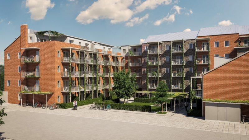 Ett 60-tal bostadsrätter planeras i Brf Sockerstan intill Dalbyvägen. Illustration: WEC360