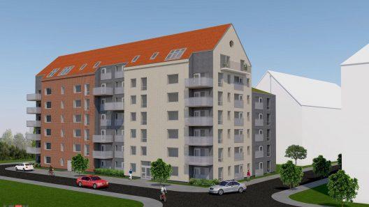 48 hyreslägenheter planeras i ett sjuvåningshus intill vårdboendet i Sockerstan. Illustration: Mika Terne Yli-Ketola NP Arkitekter AB