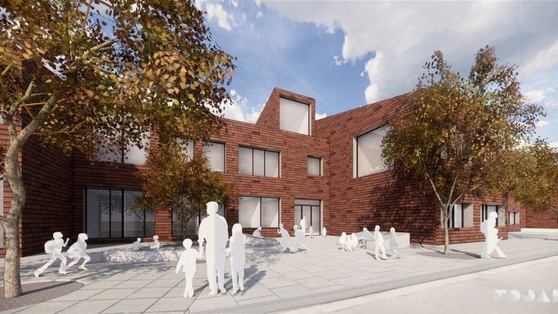 Visionsbild av hur Engelska skolan kan komma att se ut på Vikhem i Staffanstorp. Illustration: Fojab.