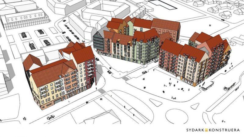 Tre nya stadskvarter med totalt 300 nya bostäder samt nya lokaler för vårdcentralen planeras intill Dalbyvägen. Illustration: Sydark