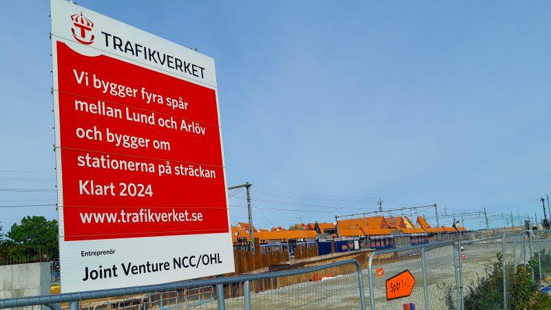 Fyrspårsarbete vid Hjärups station i september 2019. Foto: Andreas Holm