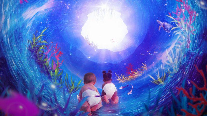Bild från föreställningen Den kosmiska havsträdgårdspassagen, ill. Johanna Kallin