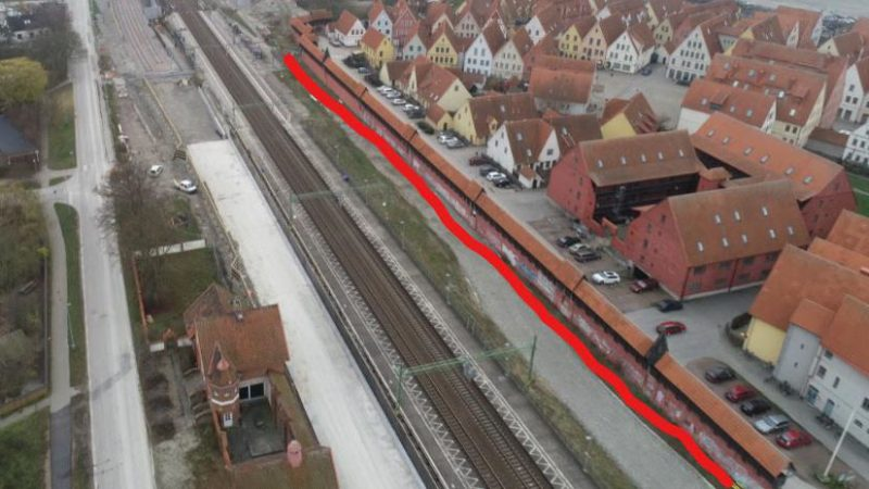 Ett streck mellan Jakriborg och Hjärups station visar var stödkonstruktionen ska byggas.. Foto: NCC/OHL