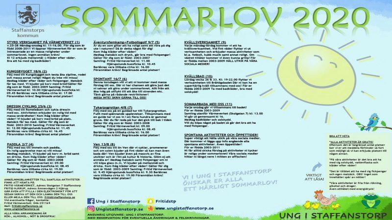 Affisch för sommarlovsaktiviteter i Staffanstorp 2020.