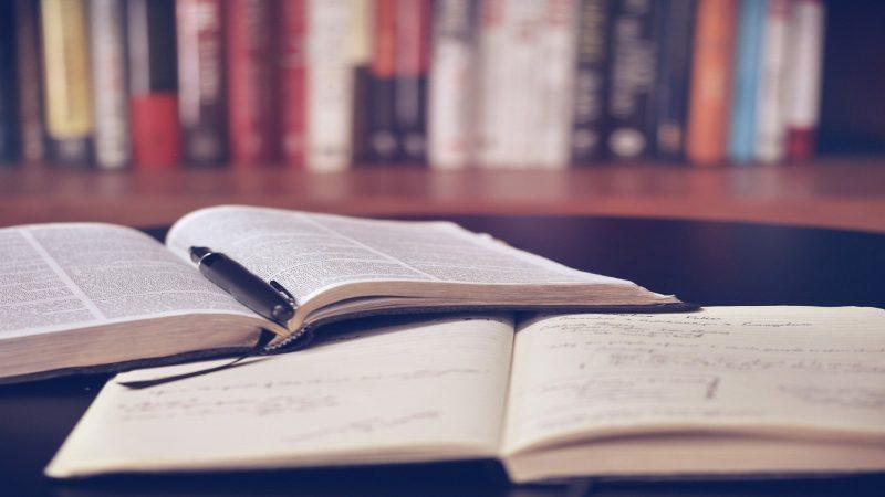 Foto av två öppna böcker som ligger på ett bord med fler böcker i en bokhylla i bakgrunden. Foto: lil_foot_ från Pixabay
