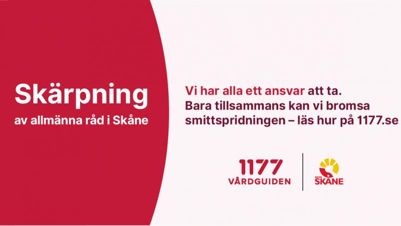 Covid-19 ökar i samhället, Grafik: Region Skåne