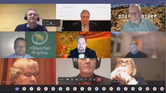 Skärmdump från fullmäktigemötet.