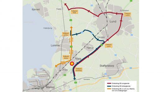 Karta över trafikomledning under avstängningen av E6..