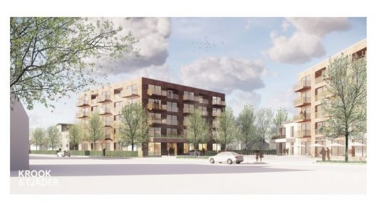 Illustration över nya bostäder som kan bli flera våningar höga.
