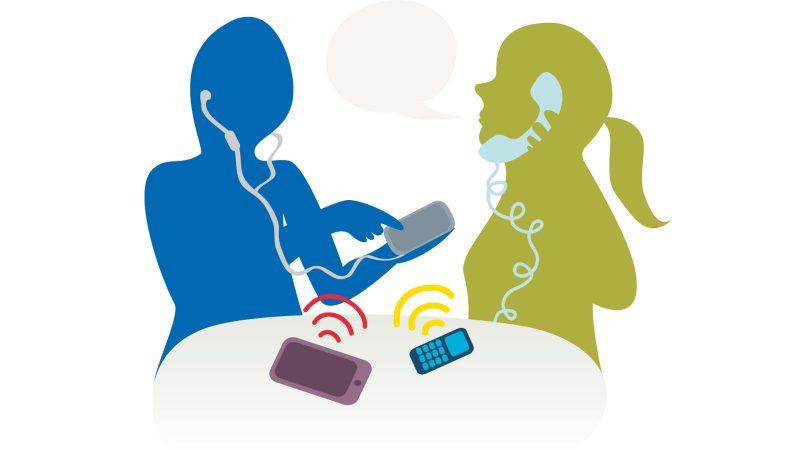 Illustration människor pratar i telefon.