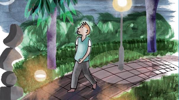 Illustration som visar person på promenad på en väg omgiven av träd, buskar och ett par gatulampor som lyser upp området.