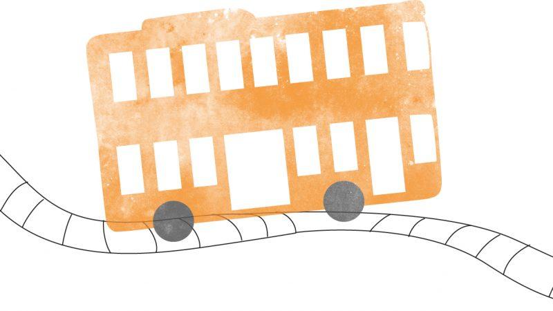 Illustration av superbuss i två våningar.