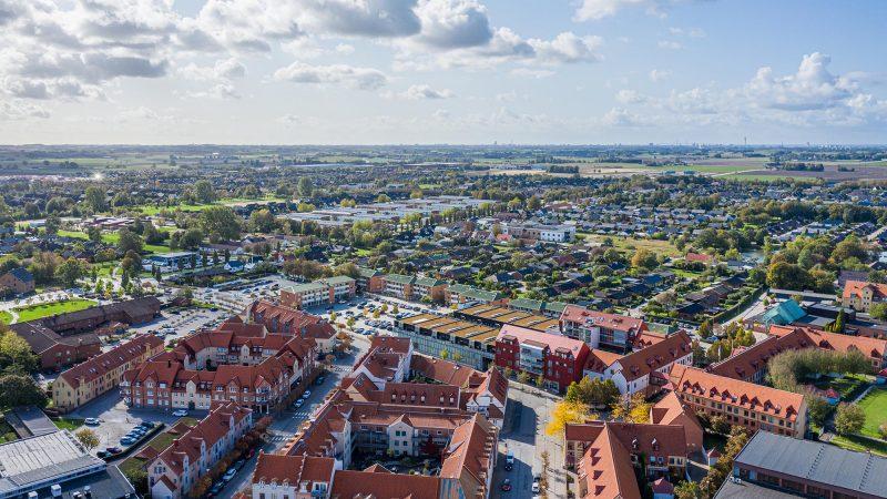 Flygfoto över Staffanstorps centrum.
