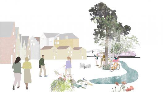 Illustration som visar människor i en småstadsmiljö. Flera högre hus i bakgrunden och i förgrunden syns en å och träd.
