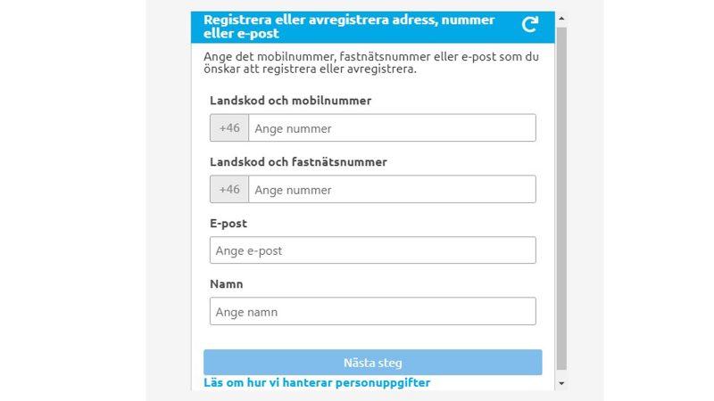 Skärmdump på modulen för sms-tjänsten.