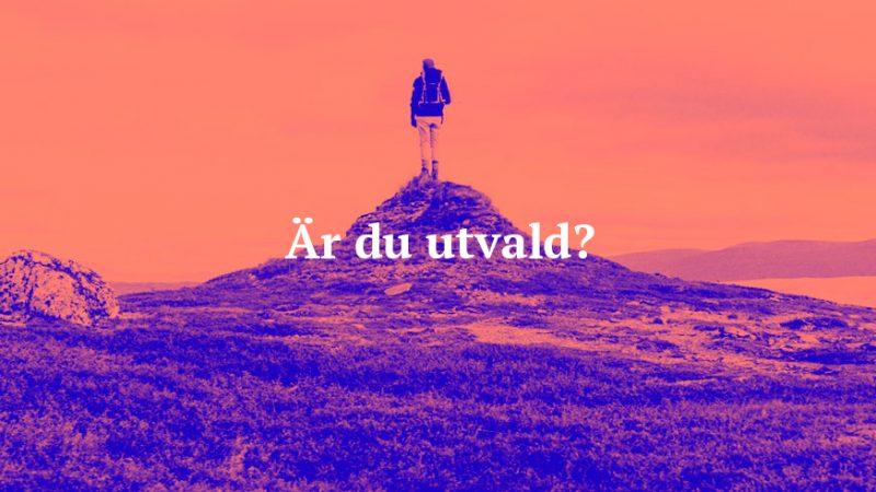 """En person står på en kulle och blickar ut mot horisonten. På bild står texten """"Är du utvald?"""""""