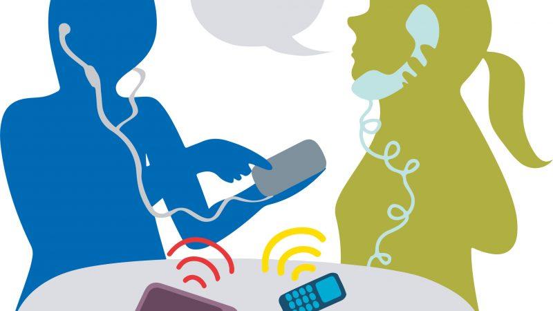 Illustration över två personer som pratar i telefon.